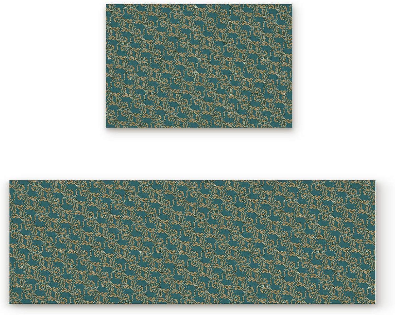 Non-Slip Indoor Door Mat Entrance Rug Rectangle Absorbent Moisture Floor Carpet for Vintage Brown Jacquard with Green Background Doormat 19.7x31.5In+19.7x63In