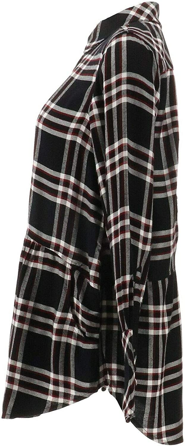 Tolani Collection Button Front Plaid Tunic Embroidered BCK Black XS New A354801