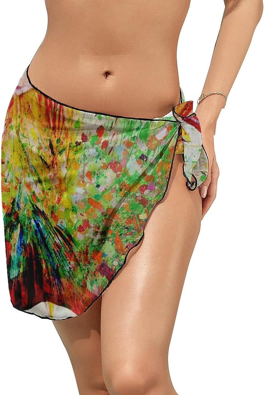 JINJUELS Women Beach Wrap Skirts Watercolor Rooster Flower Personalized Bikini Swimwear Beach Cover Up