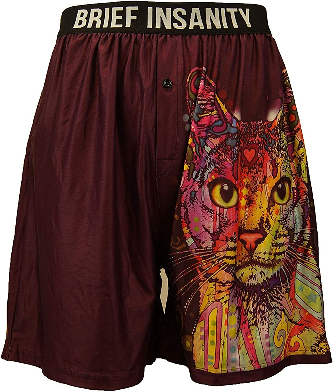 BRIEF INSANITY Boxer Briefs for Men and Women   Soft, Comfy Boxer Shorts - Animal Russo Cat Print Underwear