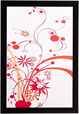eCraftIndia 'Red Floral' UV Art Painting (Synthetic Wood, 36 cm x 51 cm, Matt Texture, FPGK1453_A)