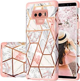 Samsung Note 9 Case, Galaxy Note 9 Case, Fingic Rose Gold Marble Design Shiny Glitter Bumper Hybrid Hard PC Soft Rubber Anti-Scratch Shockproof Protective Case Cover for Samsung Galaxy Note 9 2018