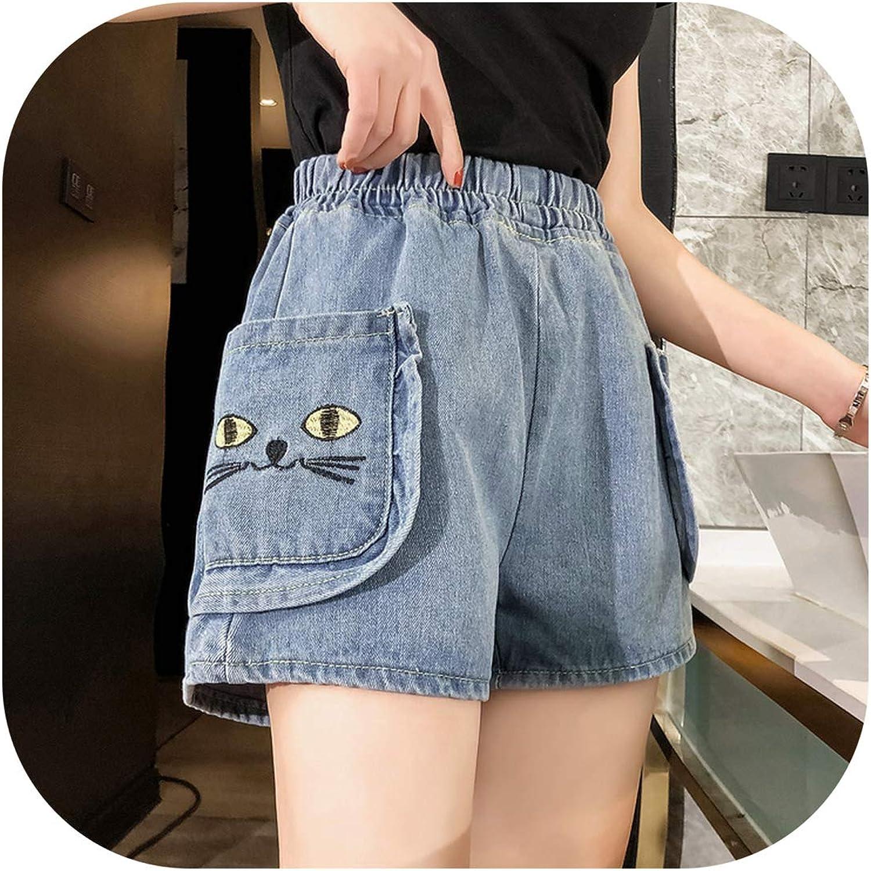 Plus Size Denim Shorts Women Cat Embroidery Pockets Patch Short Jeans,