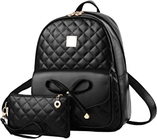 Girls Bowknot 2-PCS Fashion Backpack Cute Mini Leather Backpack Purse for Women