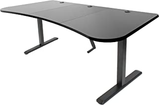 VIVO Black Height Adjustable Stand Up Desk Frame, Crank System, Workstation with 3 Section Table Top   Frame and Desktop Combo (DESK-KIT-1M1B)