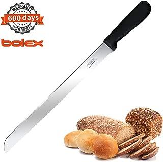 BOLEX 12 Inch Serrated Bread Knife Stainless Steel Wide Wavy Edge Knife Cake Slicer Multi-Purpose Kitchen Knife with Ergonomic Handle, Ultra Sharp Baker's Knife for Cutting Crusty Breads,Cake,Bagel