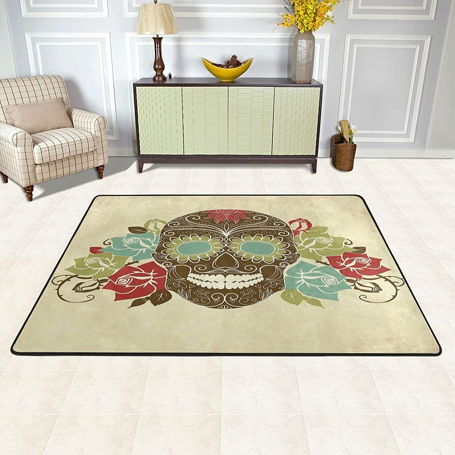 New sales TPOKIM Max 77% OFF Area Rugs Pad for Bedroom Ros Room Skull Living Sugar and