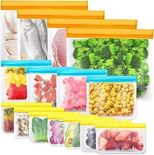 IDEATECH 15 Pièces Sacs de Rangement Réutilisables, Sacs de Congélation Réutilisables sans BPA, Sacs à Sandwich Réutilisab...