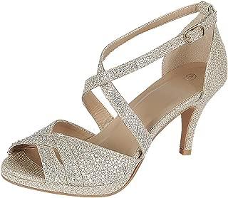 Women's Peep Toe Crisscross Ankle Strappy Glitter Crystal Rhinestone Mid Heel Sandal