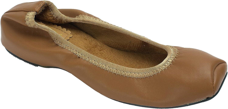 Sweet Holic Womens Snub-Toe Elastic Ballet Faux Fur Warm Flats