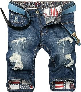Men's Moto Biker Jeans Shorts Ripped Distressed Denim Shorts with Broken Hole
