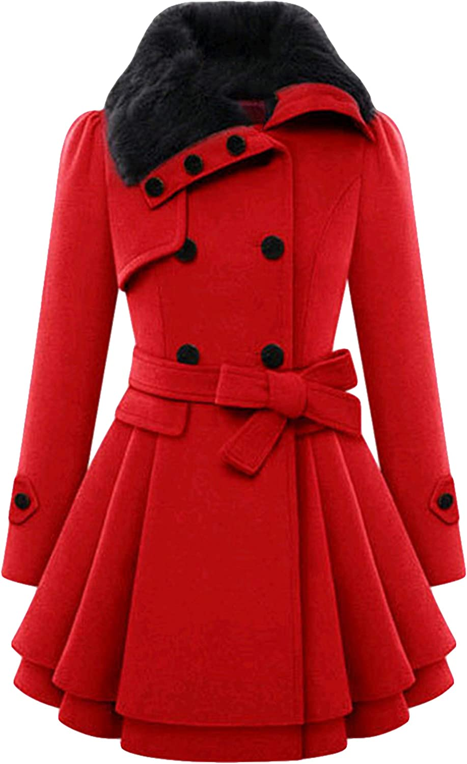 TYQQU Women/'s Lapel Collar Double-Breasted Hooded Pea Coat Plaid Mid Length Belted Jackets with Pockets