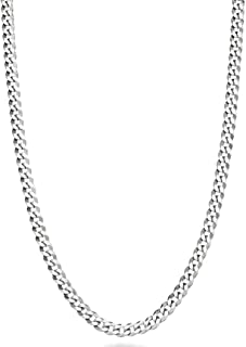 Miabella Solid 925 Sterling Silver Italian 3.5mm Diamond Cut Cuban Link Curb Chain Necklace for Women Men, 13+2, 16, 18, 2...