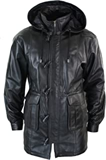 33f275239933 lld Mens 3/4 Long Real Leather Duffle Jacket Coat Safari Detachable Hood  Classic