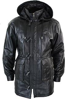 lld Mens 3/4 Long Real Leather Duffle Jacket Coat Safari Detachable Hood Classic