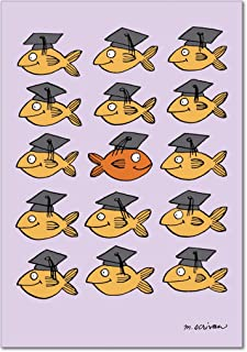 Stand Out In Crowd - Inspiring Graduation Card with Envelope (4.63 x 6.75 Inch) - Multiple Fish Graduates, Motivational Note Card - Cute Congratulations Card for High School, College Graduate 3914