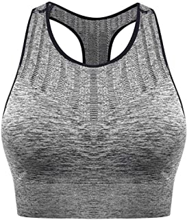 ZYDP Racerback Sports Bras - Padded Seamless High Impact Support for Yoga Gymnasium Workout Fitness (Color : Gray, Size : S)