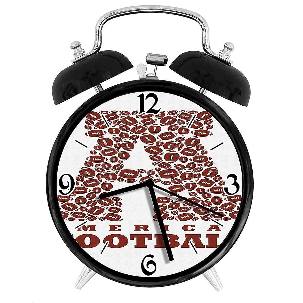 流行露提供された210STAR-アメリカンフットボールでのアルファベットの形の最初の文字レトロで個性あふれる、家やオフィス用の大きなウェイクアップの目覚まし時計、直径9.5センチ
