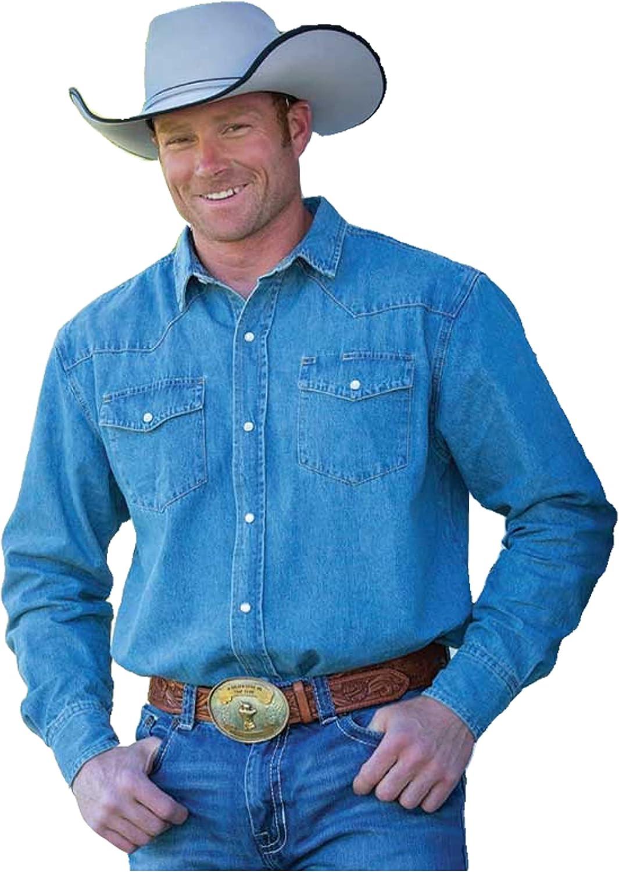 Wyoming Traders Denim Stonewashed Western Snap Shirt Regular and Tall