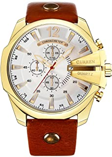 Curren Men Watches Luxury Gold Male Fashion Leather Strap Outdoor Casual Sport Wristwatch with Big Dial