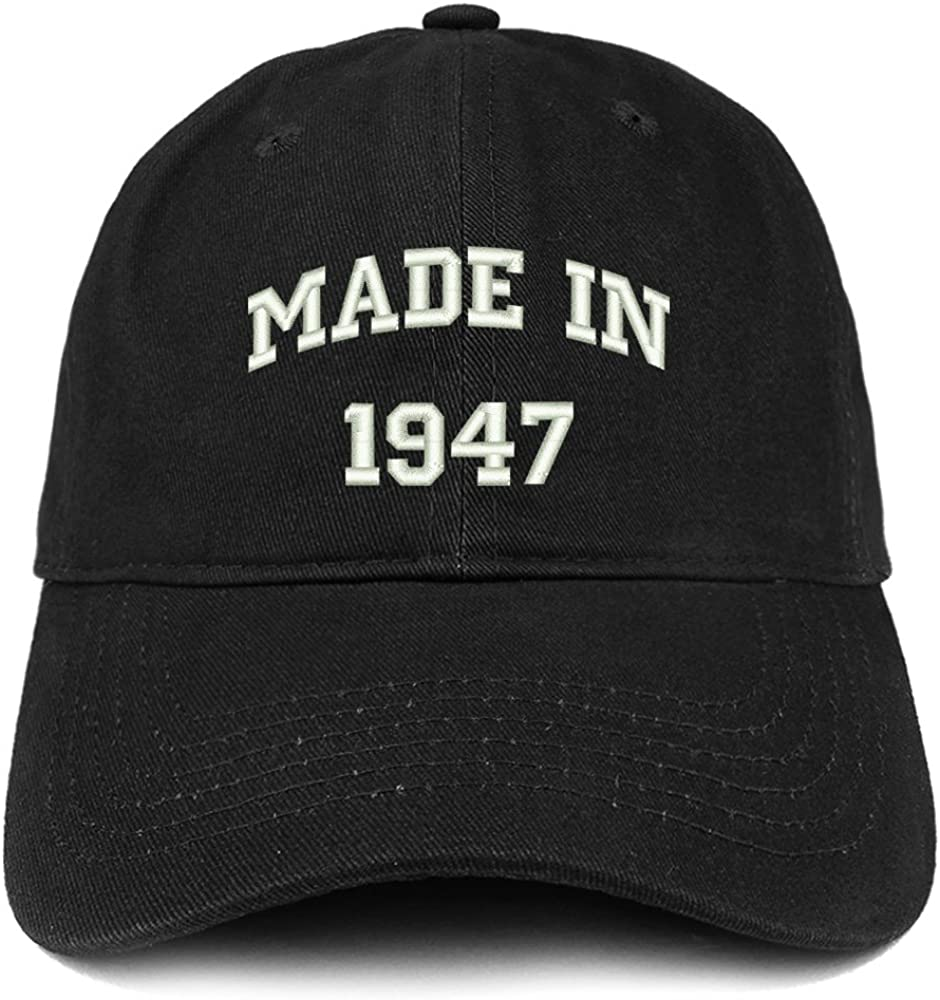 Trendy Apparel Shop Made in 1947 Text Embroidered 74th Birthday Brushed Cotton Cap