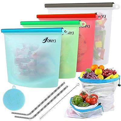 Reusable Silicone Food Storage Bags, JONYJ Bonu...