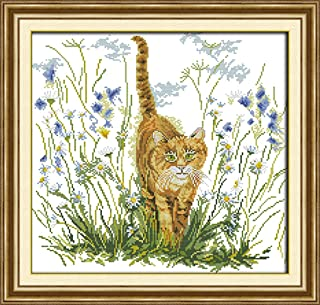 LovetheFamily Wildcat's Warning 5351cm Cross Stitch Stamped Kits for Beginners 11CT 3 Strands DIY Handmade Needlework Set Cross Stitching Stamped Patterns Embroidery Frameless