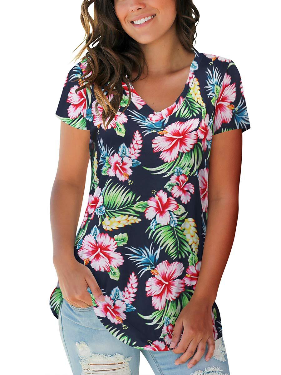 SAMPEEL Womens Basic V Neck Short Sleeve Floral T Shirts Summer Casual Tops