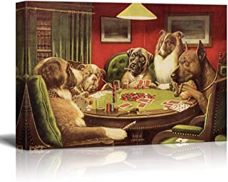 wall26 Canvas Wall Art - Dogs Playing Poker Series - A Bold Bluff by by C.M Coolidge - Giclee Print Gallery Wrap Modern Home Decor Ready to Hang - 24x36 inches