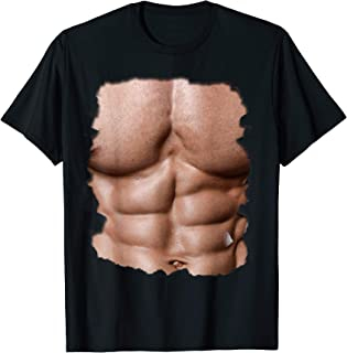 Mens Fake Muscle Undershirt Shirt Chest Six Pack Abs Print Shirt