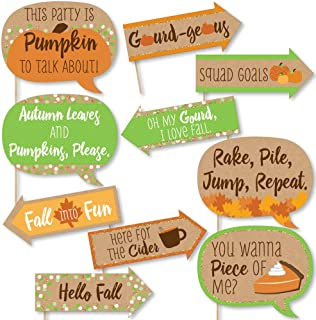 Big Dot of Happiness Funny Pumpkin Patch - Fall or Halloween Party Photo Booth Props Kit - 10 Piece