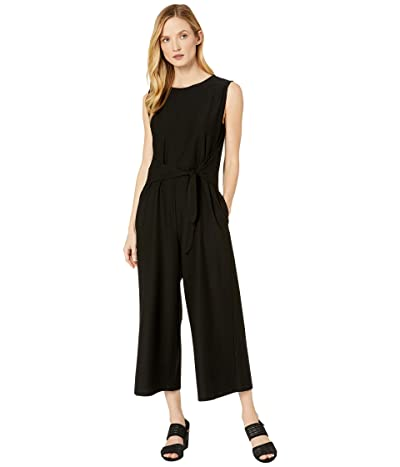 Eileen Fisher Lightweight Washable Stretch Crepe Jewel Neck Cap Sleeve Ankle Length Jumpsuit w/ Tie (Black) Women