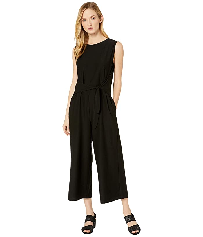 Eileen Fisher  Lightweight Washable Stretch Crepe Jewel Neck Cap Sleeve Ankle Length Jumpsuit with Tie (Black) Womens Jumpsuit and Rompers One Piece