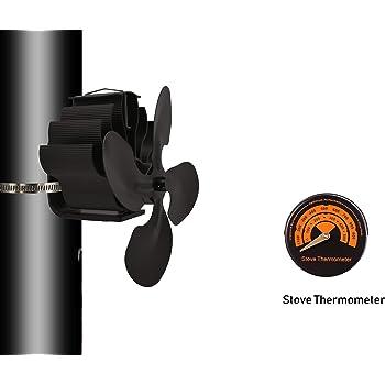 SISIEU Ventilador de la Estufa de Tubo de combustión de 4 Palas con termómetro Soplador de Tapas con alimentación de Calor para Chimenea Chimenea/Madera/Quemador de leña-Eco amigable: Amazon.es: Hogar