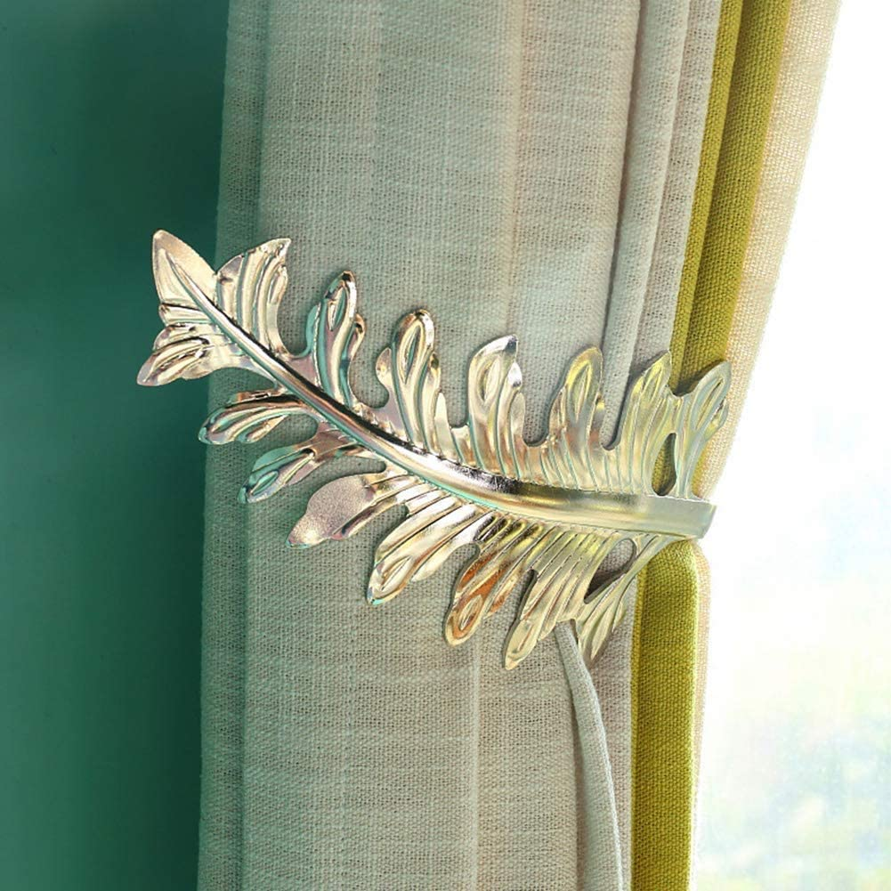 Bronze, 1pcs Living Room Curtain Holdbacks,Large Antique Leaf Design Curtain Drapery Holdbacks,U Shape Curtain Tieback Drape Holder Tie Back Metal Hook for Bedroom