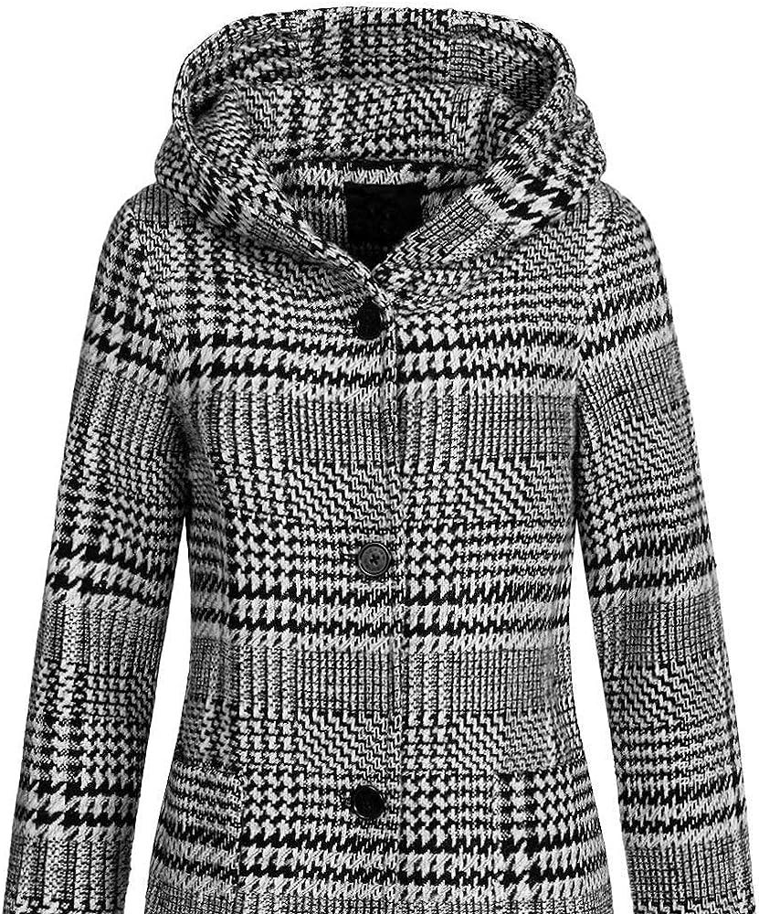 Top Fuel Fashion Damen Kurzmantel Idda Wollmantel mit Kapuze Black/White