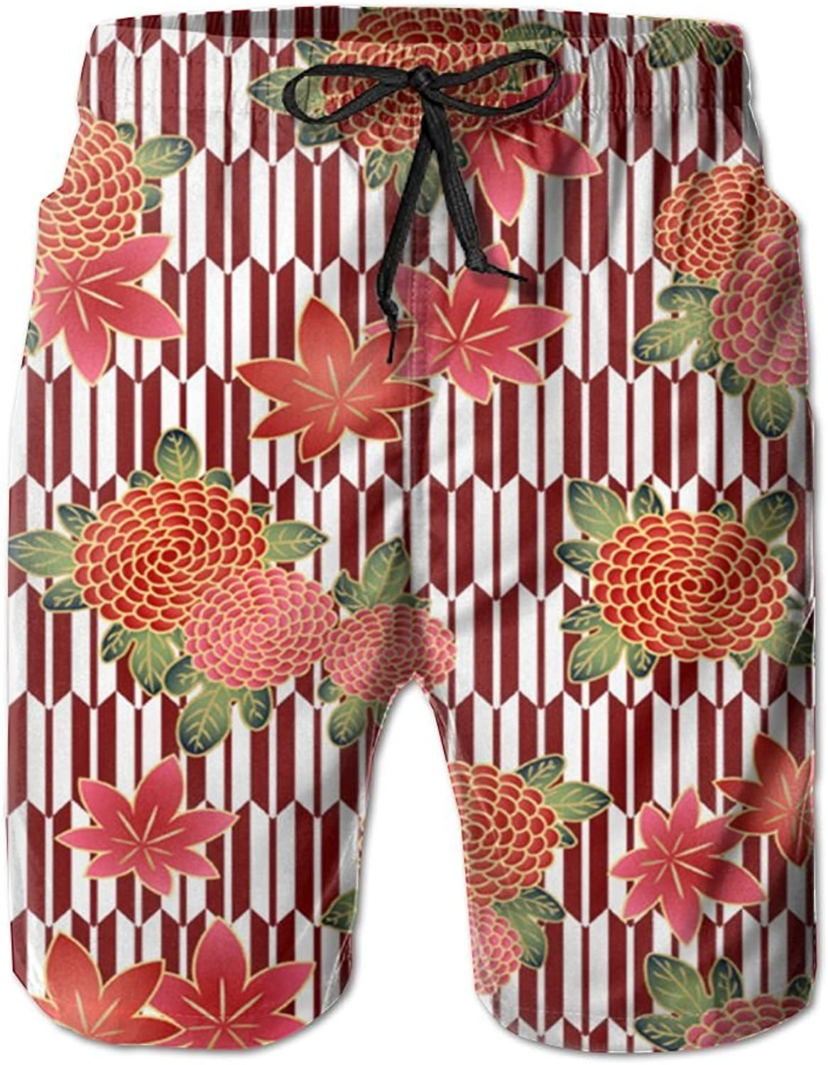 PIN Lightweight Quick Dry Beautiful Flowers Beach Shorts Swim Trunks Beach Pants