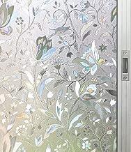 Artviva Tulip Window Film,Decorative Vinyl Film for Window Privacy/Insulation/Glare Control,Great Choice for Bathroom/Kitchen/Office Window&Door Glass,Static Cling Film 17.7