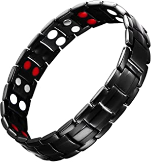 eDecor Elegant Magnetic Therapy Bracelets Mens Titanium Bracelet Pain Relief for Arthritis and Carpal Tunnel with 4 Element Removal Tools Black