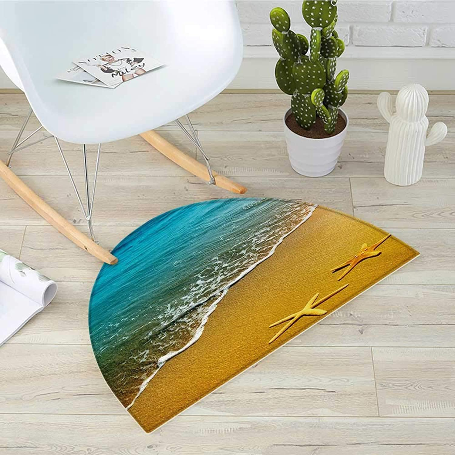 Landscape Semicircular CushionTropical Island Beach Caribbean Atlantic Ocean Scenery Artwork Print Entry Door Mat H 43.3  xD 64.9  Pale bluee and Marigold
