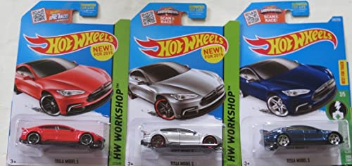 Hot Wheels Tesla Model S Car in Silber, rot and Blau Set of 3 Vehicles by Hot Wheels