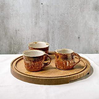 Juego de café expreso hecho a mano 4 piezas tazas jarra de leche jarra bandeja de madera de roble esmalte marrón texturizado