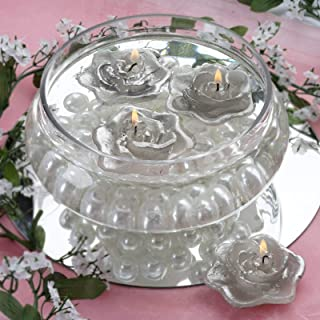 Efavormart Set of 20 Silver Unscented Floating Rose Candle for Wedding Party Birthday Centerpieces Home Decorations Supplies