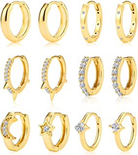 6 Pairs Small Gold Hoop Earrings for Women 14K Real Gold CZ Tiny Huggie Hoop Earrings Gift for Her