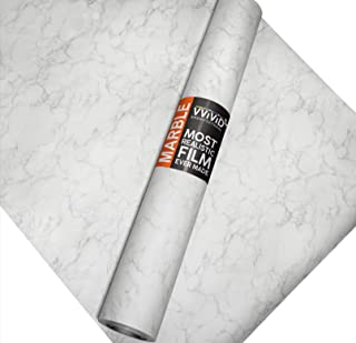VViViD Matte Carrara White Marble Natural Texture Architectural Vinyl Sheet Film Roll (16 Inch x 6.5ft Roll)