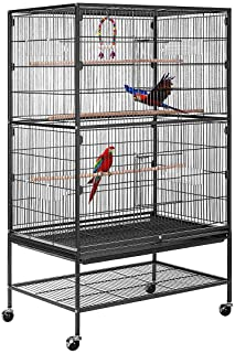 VIVOHOME 53 Inch Wrought Iron Large Bird Cage with Rolling Stand for Parrots Conures Lovebird Cockatiel Parakeets