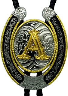 Moranse Upgrate Bolo Tie Golden Initial Letter A to Z In Western Cowboy Horseshoe Style with Cowhide Rope Necktie
