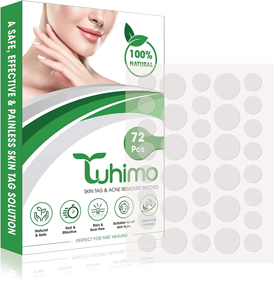 TUHIMO Skin Tags Remover Patches - 72 Pcs with Various Size Remover Patches - Acne, Wart, Blackhead & Pimple Remover - Body and Face Use