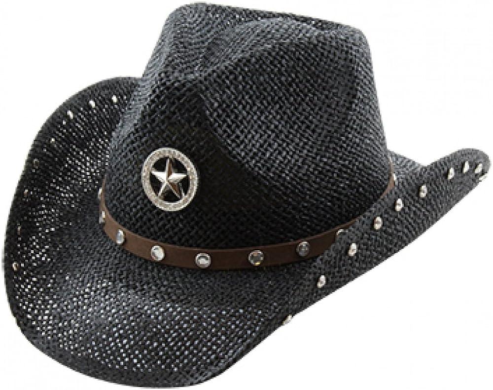 Studded Rhinestone Trust New sales Shapeable Cowboy Hat Black