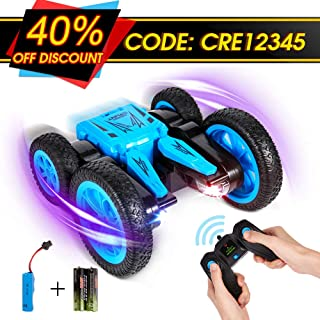 Crenova All-Direction RC Car for Kids, 1:24 4WD 2.4GHz Rechargeable Stunt Car Toy 7.5MPH 2-Sided Driving, 360° Spin & Tumble with Colorful LED Headlights